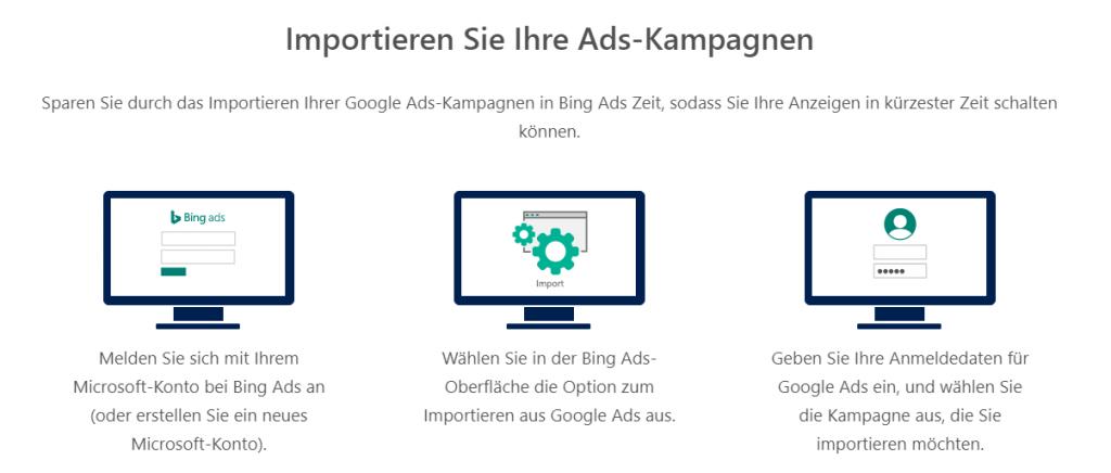 Der Import aus Google Ads funktioniert bei Microsoft Advertising hervorragend