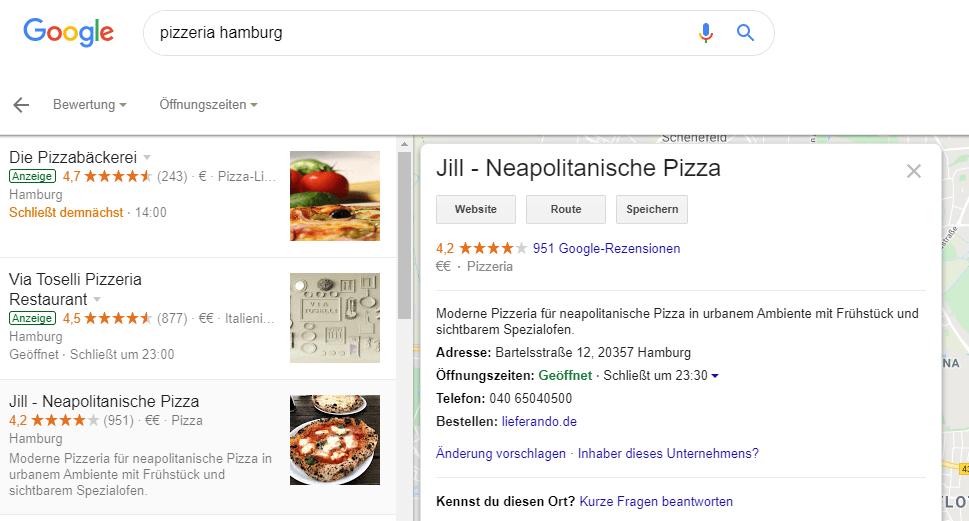 Pizzeria Hamburg NAP-Informationen