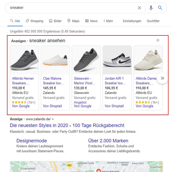 Google Shopping Produktanzeigen