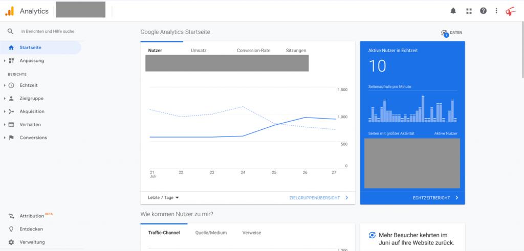 Benutzeroberfläche Google Universal Analytics